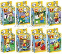 SY 8pcs/lot The Simpsons Series Building Blocks Toys  lego compatible Minifigures Educational blocks