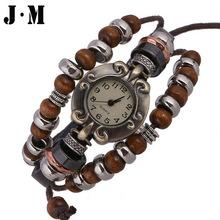 J&M- Casual Watch Women Dress Wrist Watch 2014 Fashion Multilayer Wooden Alloy Beads Leather Bracelet From India Pulseras Reloj