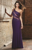 Hot Sell ! Long Sheath One shoulder Designer Gorgeous Evening Gown,Party Dresses 2014 with Glittering Crystals and Beaded Jewel