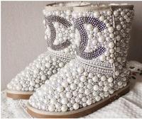 Drop shipping designer luxury Diamond pearl women snow boots, hand make Fashion Women Brand Winter Genuine Leather Fur Boots