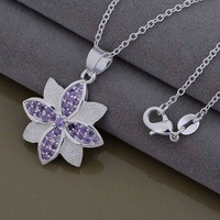 Christmas Gift 925 Silver Crystal Necklaces & Pendants,Fashion 925 Sterling Silver Necklace,Free Shipping,GYAN1002