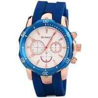 CURREN Men Quartz Watch with Round Dial Rubber Band