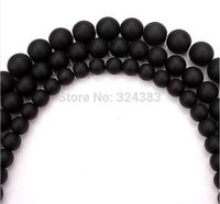 Smooth round matte black beads Dull Polish Matte Onyx Agate Stone Beads 4 6 8 10 12 14mm Pick Siz