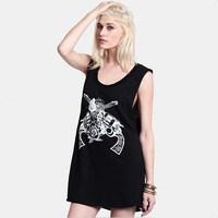 Fashion Women Tank Top Summer Casual Round Neck SLeeveless GUN and Rose Printed Black T-Shirt For Women Long Shirt Top tee