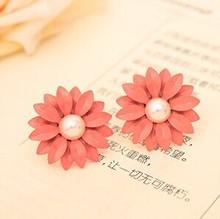 !!! Hot !!!2014 Brand New Fashion Hot Selling Beautiful Cute Sweet Flower Pearl Earrings For Women Girl Gift E128