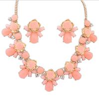 Fashion women's crystal alloy jewelry sets choker necklace earrings sweet roses necklace earrings for women wedding