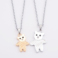 Hot Gift 1 Pair l Love Matched Gold and Silver  Bear Shape Pendant Necklace for Men Women Couple  Lovers' Chain Hot Gift