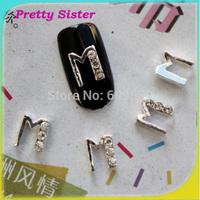 100pcs per lot of New Arrive Letter M 3D Letter design nail art decorations Professional nail art supplier wholesale