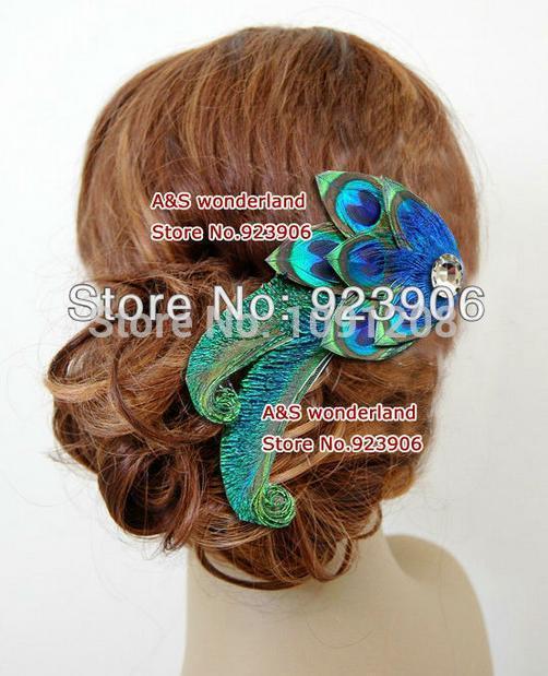peacock feather hair clip Feather bridal hair piece women's fashion hair accessory DJO59(China (Mainland))