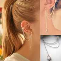 2pcs New Arrival Punk Silver 3-Rows Chain Tassel Leaf Charm Metallic Ear Stud Wrap Cuff Earring