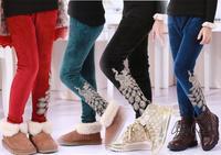 New 2015 Kids Girls Winter villi wool pants ,Children's girl Tight pants Peacock warm trousers