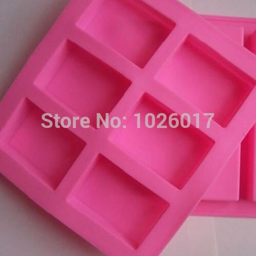 New 6 Cavity Rectangle Bar Soap Bake Mold Silicone Mould Tray Homemade Craft DIY NEW(China (Mainland))