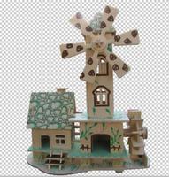 3d puzzle wooden children's educational house model forest hut TOYS
