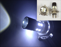 2PCS New Energy Saving H4 Cree Q5 SMD5050 12 LED Car Head Light Bulb White Lamp DC 12V-30V #H002B