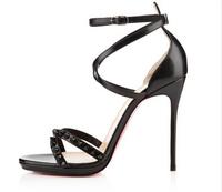 2015 brand women high heels sandals new design shoes fashion rivets  red bottoms women high heels summer girls women shoes