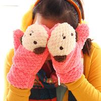 Winter Cute Cartoon Bear Gloves Half Fingered Warm Gloves Thicken Gloves