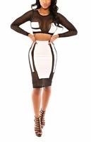 ML18236 Free Shipping S/M/L Fashion Mesh Black White Long Sleeve Winter Women Vestido 2 Piece Dress Sexy Bodycon Bandage Dresses