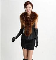 2014 Autumn Winter Elegant Women Black Warm Faux Fur Long Vest Sleeveless Jacket Coat Waistcoat Top Jackets Plus Size