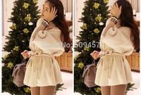 High-end Woolen coat for women medium-long cloak overcoat beige color elegant fashion winter thickening fur collar coat WWN142