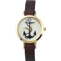 New Arrive Charm Women Anchor Watches Golden Dial Analog Quartz Watch Leather Strap Smart Clock Women Dress Watch reloj