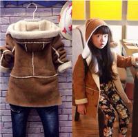 2014 Children Outerwear Winter Cotton Flax Korean Boys And Girls Child Buckskin Coat Lamb's Wool Coat Thick Hooded Coat Parkas