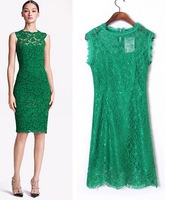 2015  European Style Women Summer Spring Hollow Out Sexy Lace Dress Sleeveless Back Zipper Backless Slim Famous Brand CL2329