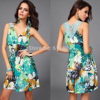 Sexy deep V-neck  Milk Silk empire Printed vest Dress Ms butterfly jacquard lace summer dress hem loose Casual dress green