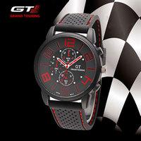 2014 New Sports Quartz Watch Men Military Watches Iuxury Brand Wristwatches Stainless Steel Case Silicone strap relogio GT clock