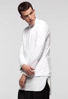 fashion biker shirt men cool oversized extended long shirt tee side split slim fit streetwear skateboard urban last kings shirt