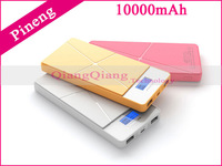 Original Power Bank 10000mAh Pineng PN-983 LCD Display LED Flashlight Dual USB Portable Charger For Smart Phone/ Gold