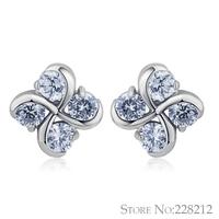 2014 new cubic zirconia flower earrings fashion multicolor gem earrings for women hot sale high quality
