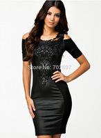 S M L XL Spring 2014 new woman fashion sexy lace embroidered fight skin tight dresses Boat Neck Short Sleeve Slim Dress