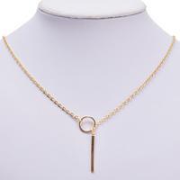 1pc Womens Unique Charming Gold Tone Bar Circle Lariat Necklace