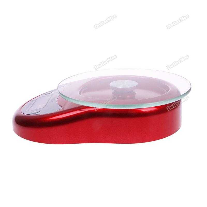 dollarmee excellent fancy 5kg 1g Glass Platform Digital LCD Diet Food Kitchen Clock Timer Function Scale Universal!(China (Mainland))