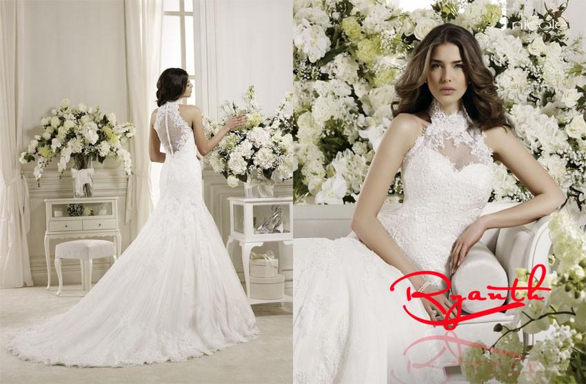 rbw060 vestidos de noiva nobile elegante abiti da sposa impero 2015 abito da sposa collo alto abiti da sposa vestido de casamento