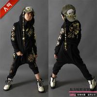 Autumn child sports casual cotton set zipper outerwear harem pants brand Hoodies fleece print pullover sweatshirt hip-hop