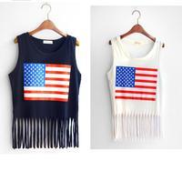 New summer fashion USA FLAG Print sleeve less cotton Tassel Tank Top/Punk Tee T-Shirts/Sexy lady crop tank top