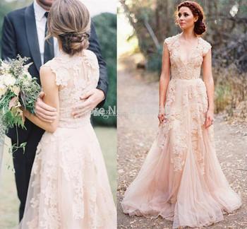 Глубокий V Cap рукава розовый кружева аппликация тюль свадебные платья 2015 дешевые старинные линии последние свадебное платье невесты платье