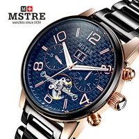 Luxury top brand Upscale genuine steel strap Tourbillon self wind automatic mechanical watch for men gift calendar wristwatch
