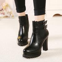 Free shipping  New Korean temperament minimalist fashion belt buckle waterproof high-heeled boots
