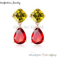 2014 Brincos Channel Piercing 18K Rose Gold Plated Earrings Mona Lisa Red CZ Zircon big stud earrings for Women bijoux Christmas