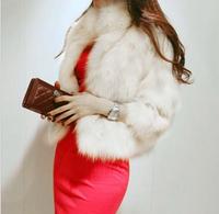 2014 Autumn Winter Female Mexa Poncho Covered Button Stand Collar Short Silm Outerwear Women Faux Fox Fur Coat White/Black/Khaki