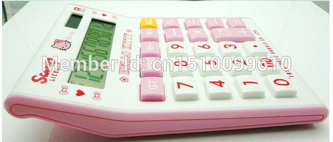 Hello kitty cartoon Pink lovely Solar heart key 12 Digits Electronic Calculator gift for girls Size:14.6cmx11.3cmX2.85cm(China (Mainland))
