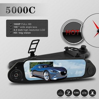 "5000C Novatek 96650 Car DVR Car Rear view Mirror Camera Recorder with 4.3"" Full  HD Screen 1920x1080p 170 Degree Lens, G-sensor"