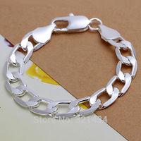 Mens Men Fashion Jewelry 925 sterling Silver Male Bracelet chain Link  Bracelet Bangles boy boyfriend birthday  gift box LK222