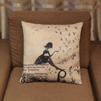 Flax mixed fabric pillow girl waiting for love covers three 15% off  Without core
