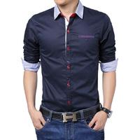 2015 M-5XL mens dress shirts long seeve shirt men slim fit formal casual male shirt plus size