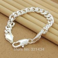 Mens Male Fashion Jewelry 925 sterling Silver Bracelet Bright Chain Link Cool Bracelet Bangle boyfriend birthday  gift box BL-12