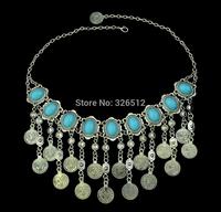 Gypsy Bohemian handmade big oval stone chocker necklace long coin fringe bib statement necklace women costume jewelry