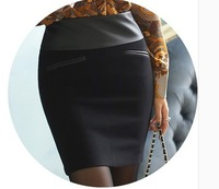 Mid Waist PU Patchwork Woolen Skirts 2015 Spring New Arrival Female Suit Skirts Casual Work OL Woolen Skirts Pencil